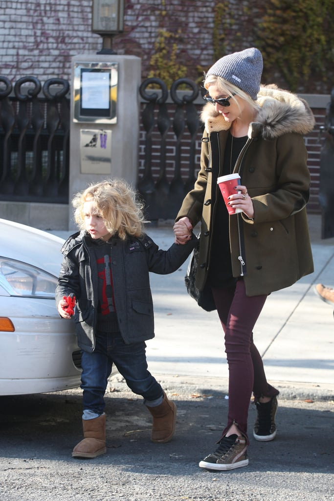 Ashlee Simpson's fur-trim Sandro coat, burgundy jeans, and leopard Golden Goose sneakers were fabulous on their own, but her peppered Neff beanie ($18) added the perfect finishing touch.