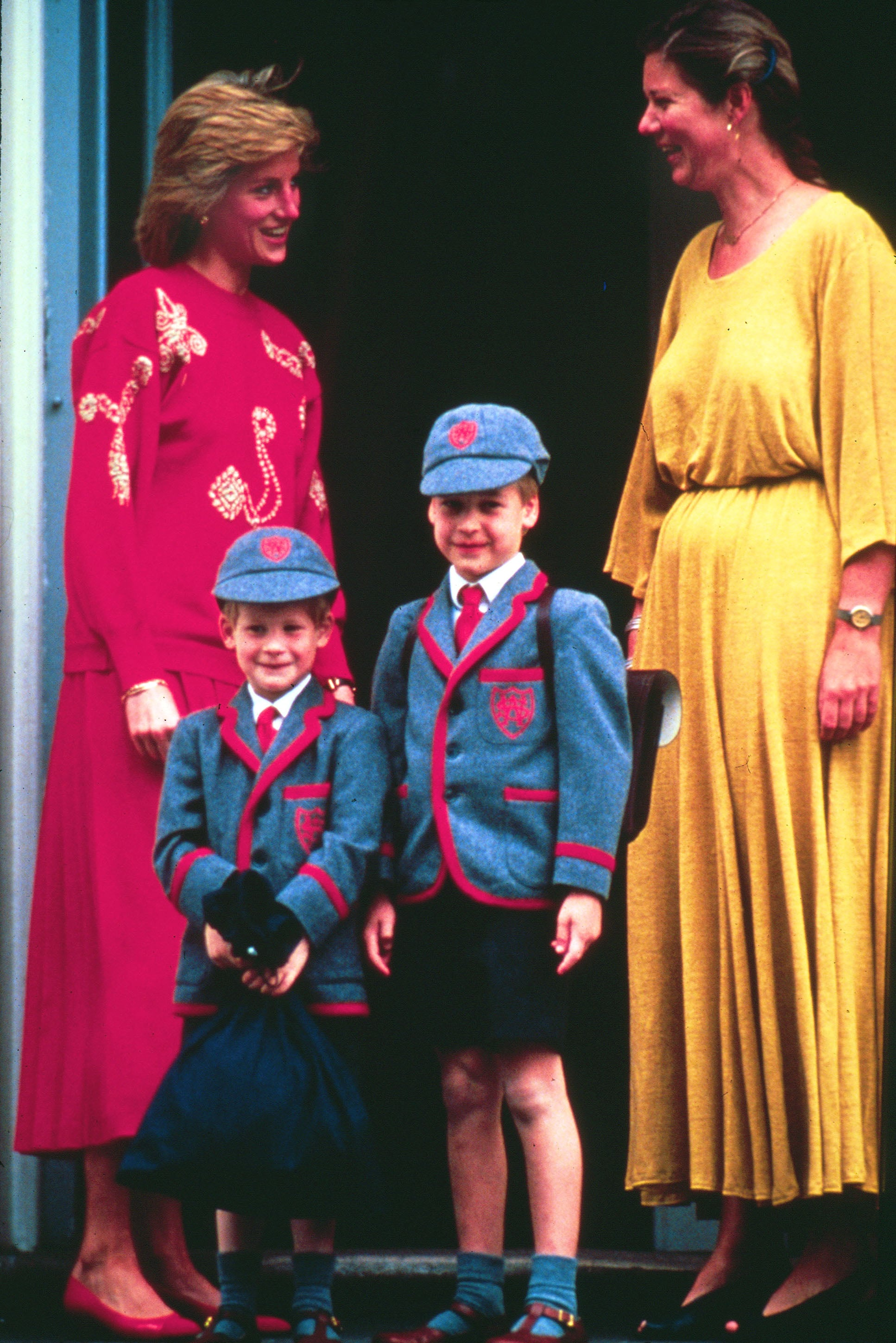 Princess Diana stood with her adorable boys on Prince Harry's first day of elementary school in London in April 1990.