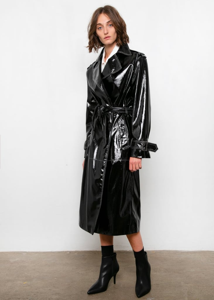 Frankie Black Patent Trench with White Topstitch