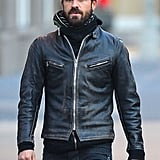 Justin Theroux visited family in NYC.