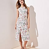 Loft Floral Cap Sleeve Slit Dress