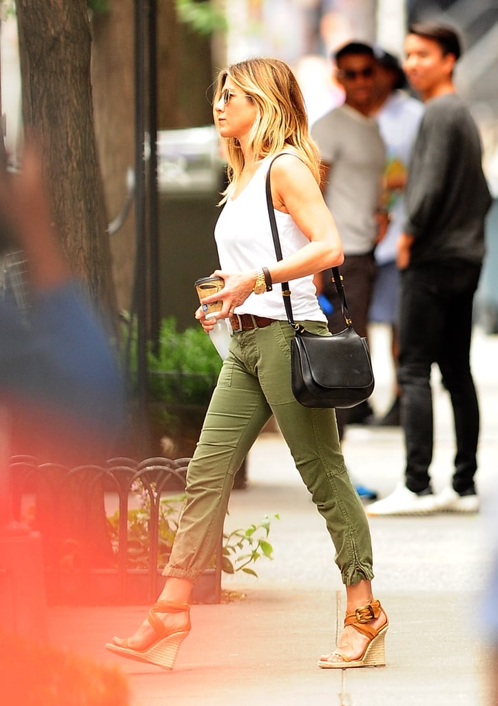 a2a4fe8de555 Jennifer Aniston s Burberry Wedges in New York June 2016