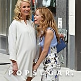 Cameron Diaz and Leslie Mann laughed on set in NYC.