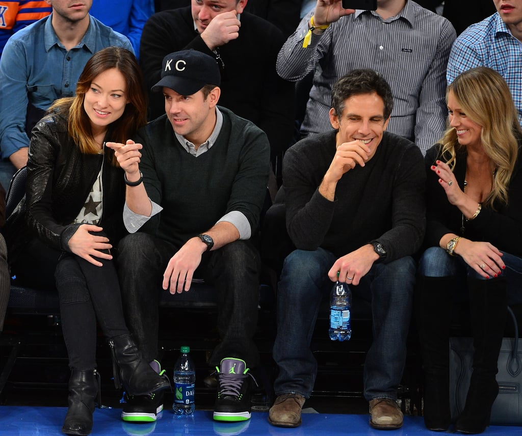 It was a double date for Olivia Wilde and Jason Sudeikis as they sat front row with Ben Stiller and his wife, Christine Taylor, while watching a Knicks game in February.