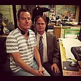 Rainn Wilson let temporary director of The Office Bryan Cranston sit on his lap for a funny snapshot. Source: Instagram user rainnwilson