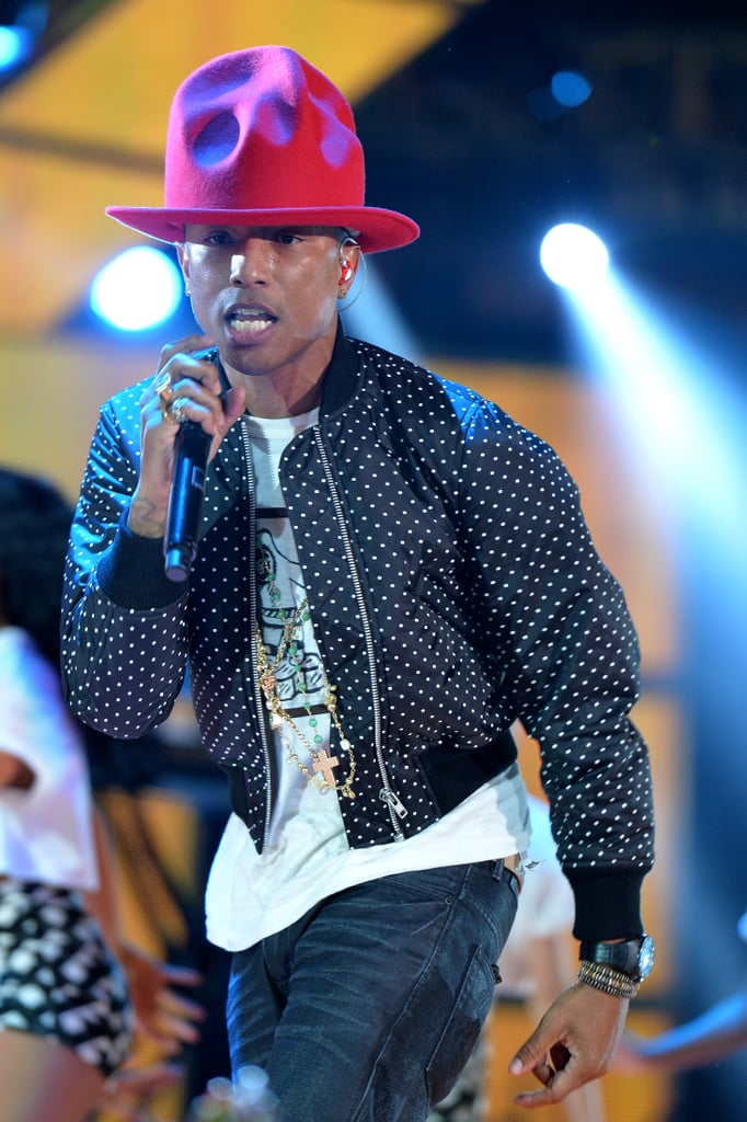 The hat showed off its colorful personality while Pharrell performed at the 63rd NBA All-Star Game in New Orleans.