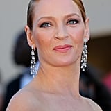 To attend the Cannes closing ceremonies, Uma Thurman wore a glamorous makeup look consisting of a subtle smoky eye and petal-pink lips.