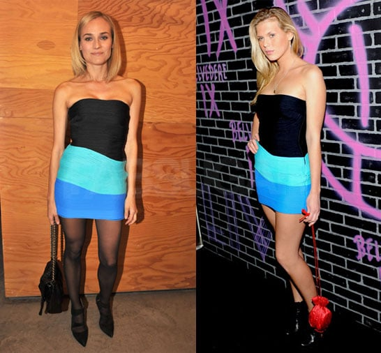 Diane Kruger and Alexandra Richards Wear Alexander Wang Stretch Turquoise Dress