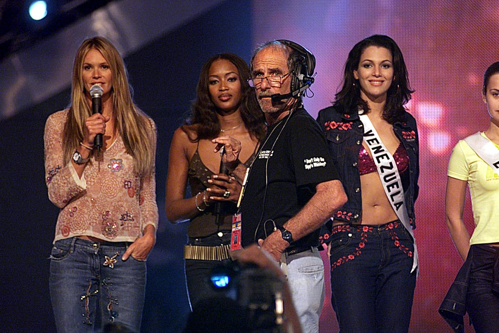Miss Universe 2001 cohosts Naomi Campbell and Elle Macpherson stand beside Miss Venezuela Eva Ekvall, who was third runner-up at the pageant.