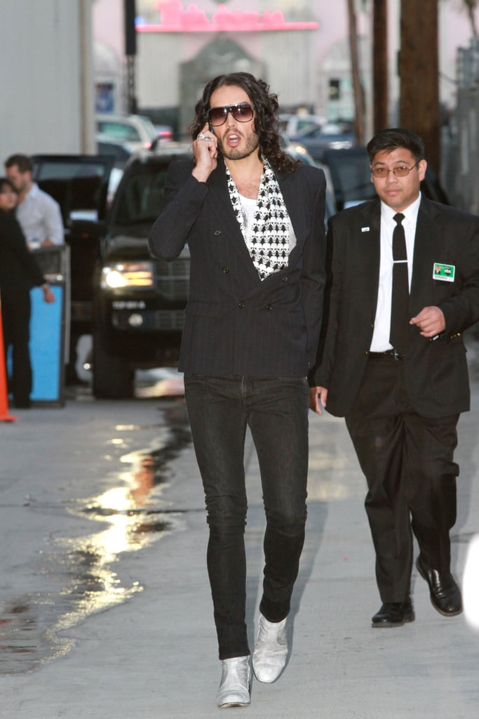 Pictures of Russell Brand in LA to Appear on Jimmy Kimmel Live