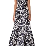 ML Monique Lhuillier Floral Print Mikado Dress