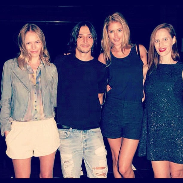Doutzen Kroes shared a photo of herself with Kate Bosworth and Olivier Theyskens. Source: Instagram user doutzenkroes1