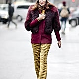 Mustard hues and burgundy were a perfect match in this quirky-cum-sophisticated mix.