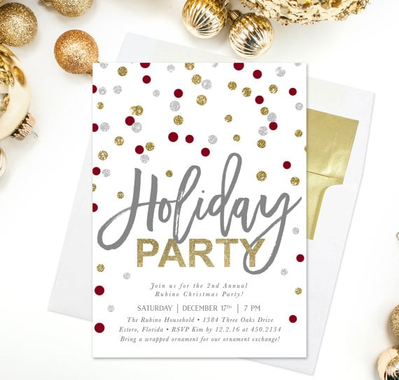polka dot holiday party invitation
