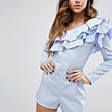 PrettyLittleThing Frill Detail Off The Shoulder Playsuit (£30)