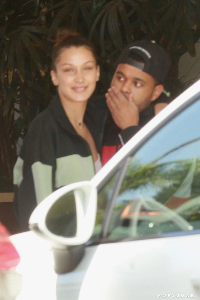 If you had any doubt that The Weeknd and Bella Hadid are back together, their latest outing should definitely help seal the deal. Over the weekend, the couple proved that Sundays really are for lovers when they were photographed on a romantic lunch date in LA. Bella and The Weeknd shared a sweet kiss in the parking lot, and Bella happily wrapped one of her arms around her man.  Bella and The Weeknd have been dating on and off since 2015, though it looks like they are officially back on. Not only were they spotted making out in Cannes back in May, but Bella recently joined The Weeknd in San Francisco when he performed at the Outside Lands Music Festival. Hmm . . . we wonder if The Weeknd's latest EP played a part in their reconciliation?       Related:                                                                                                           Breakup to Makeup: 38 On-Again, Off-Again Celebrity Couples