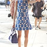 Ella Catliff styled a standout print with perfect pops of white and blue.
