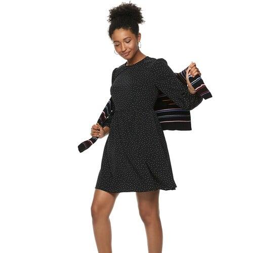 POPSUGAR Long Sleeve Mini Dress in Black