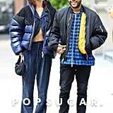 Bella Hadid Blue Suit and Puffer Jacket With The Weeknd 2018