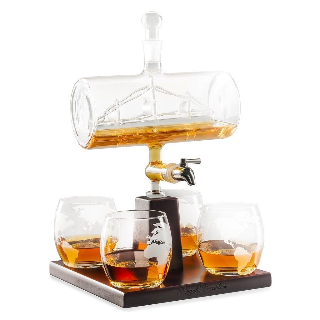 Cylinder Ship Whiskey Decanter Set