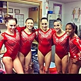McKayla Maroney shared a throwback photo of her and her gymnastics teammates trying on their Olympics leotards for the first time. Source: Instagram user mckaylamaroney