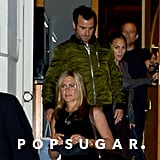 Justin Theroux wore a green jacket.
