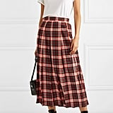 MSGM Pleated Tartan Midi Skirt