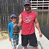 Mark-Paul and Michael had a father-son fishing outing when they were in Mississippi.