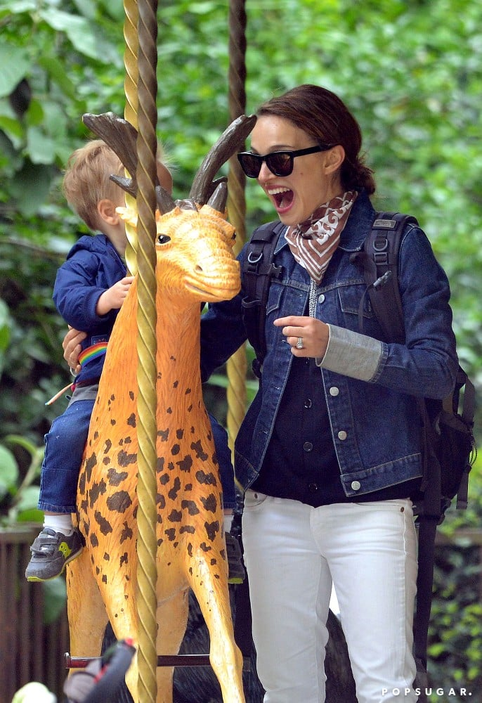Natalie Portman took her son, Aleph, for a carousel ride in Paris.
