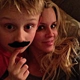 Jenny McCarthy goofed around with a mustache-clad Evan. Source: Instagram user jennyannmccarthy