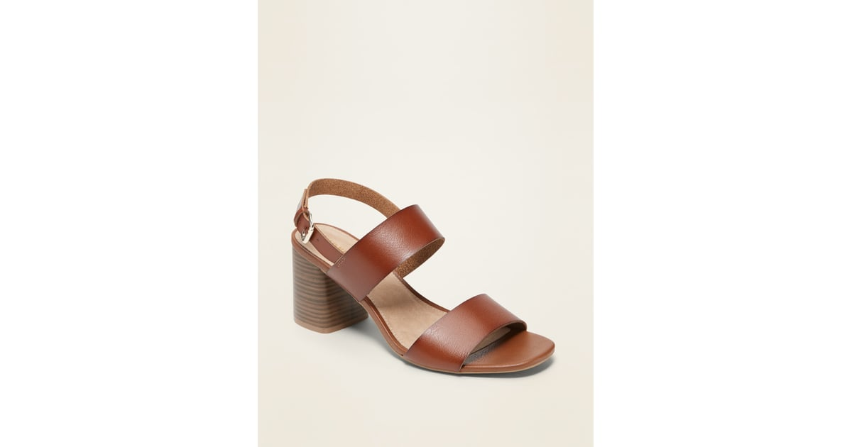Old Navy Faux Leather Slingback Block Heel Sandals | Old