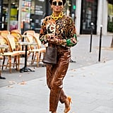 Leather Pants Outfit Idea: Animal-Print Leather Pants + Printed Top