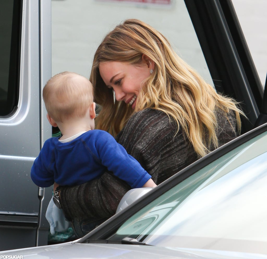 Hilary Duff smiled at her son, Luca, while out in LA.