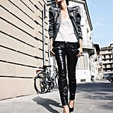 Layer Your Slinky White Tank With a Business-Ready Blazer and Leather Skinnies