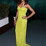 Gabrielle Douglas donned a neon yellow dress at the after party.