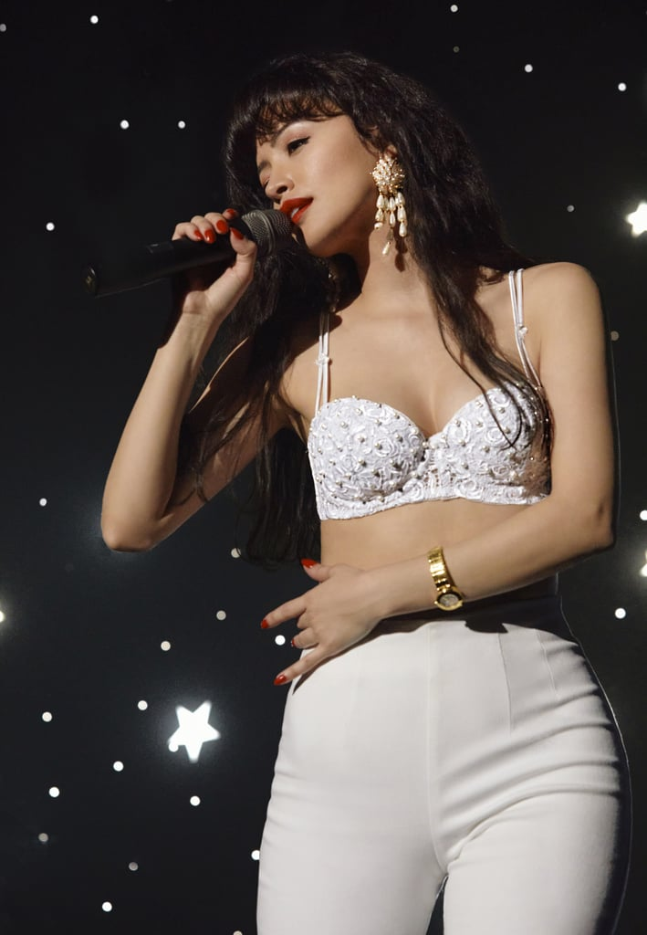 Christian Serratos Wearing White Bustier in Netflix's Selena