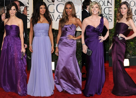Red Carpet Photos of Purple Dresses at Golden Globes 2010