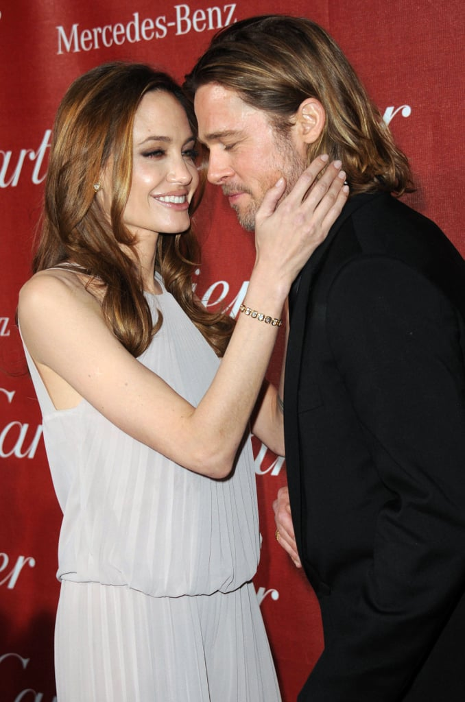 Angelina stroked Brad's cheek at the January 2010 Palm Springs Film Festival.