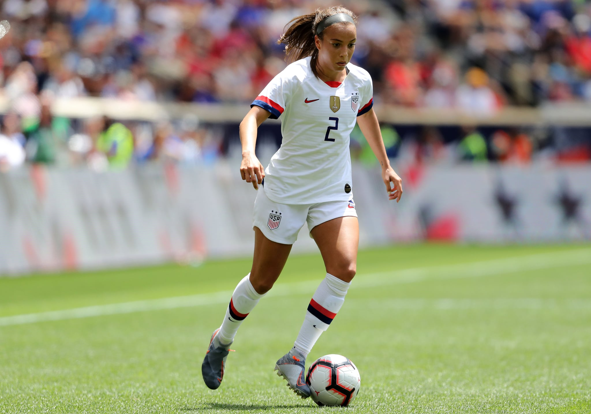 HARRISON, NEW JERSEY - MAY 26:  Mallory Pugh #2 of the United States passes the ball in the second half against Mexico at Red Bull Arena on May 26, 2019 in Harrison, New Jersey. (Photo by Elsa/Getty Images)