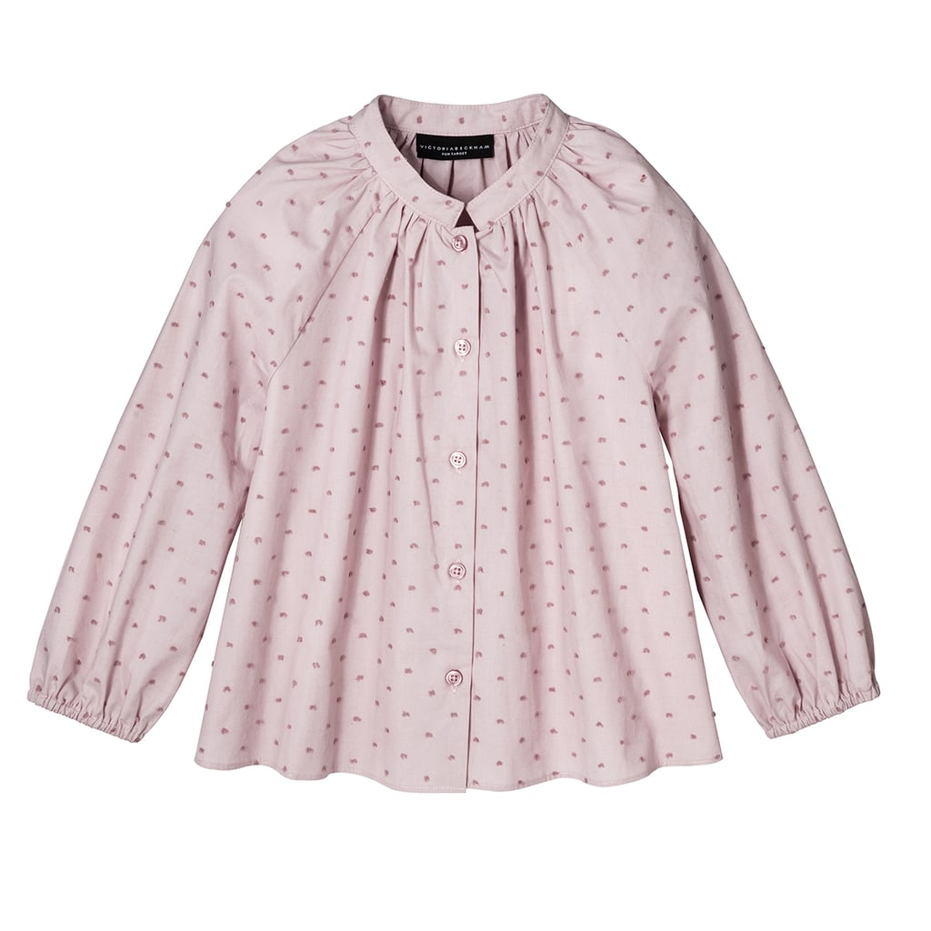 Girls' Blush Swiss Dot Button Down Top ($20)