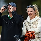 Lindsey Vonn stood with Tiger Woods's caddie, Joe LaCava, during a practice round for the 142nd British Open Championship in Scotland.
