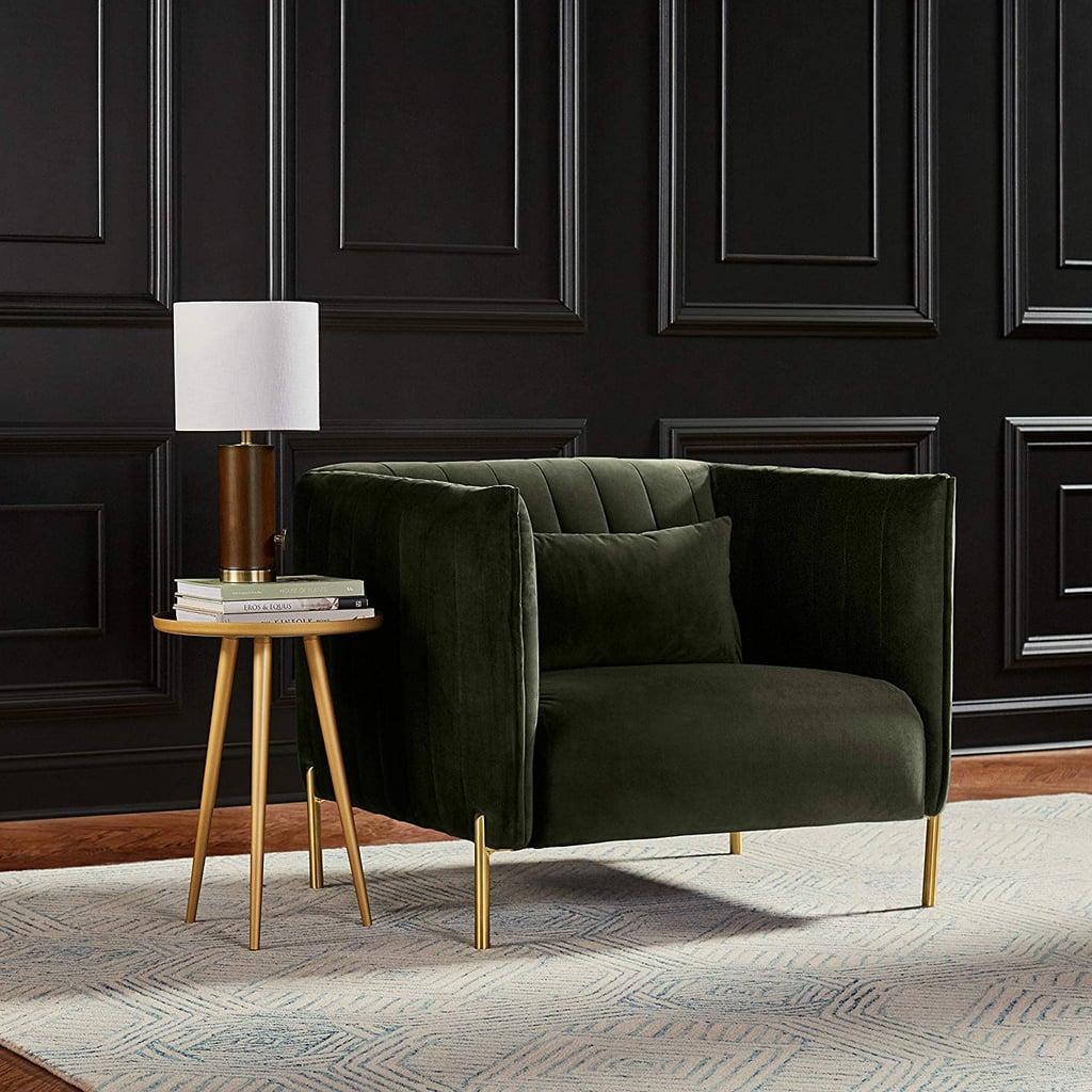 Rivet Frederick Mid-Century Modern Tufted Velvet Living Room Chair