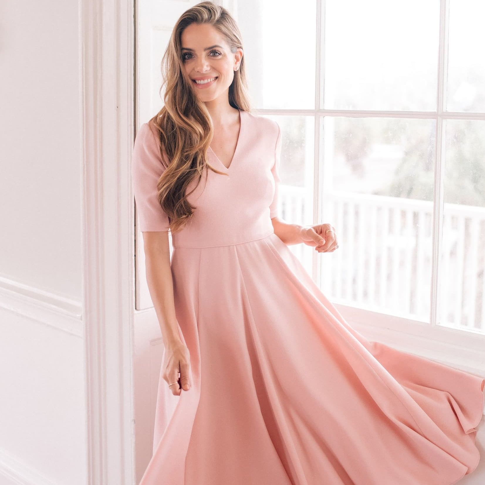 Gal Meets Glam Collection Edith City Crepe Fit & Flare Midi