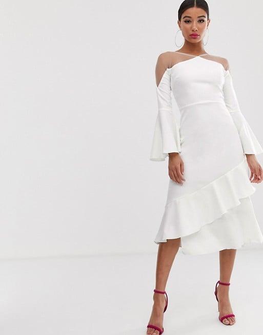 Yaura Sheer Insert Ruffle Frill Hem Midi Dress