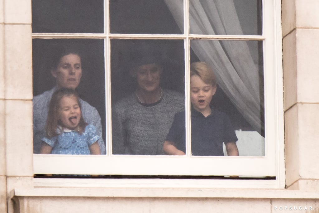 Prince William, Prince Harry, Kate Middleton, and Meghan Markle all participated in this year's Royal Air Force celebration in London on Tuesday, and even though Prince George and Princess Charlotte weren't in attendance, they still managed to steal the show all the way from inside Buckingham Palace, no less. As the royal fab four watched the fly-past from the balcony, George and Charlotte were adorably spotted checking out the show behind palace windows with their nanny, Maria Borrallo, and Kate's private secretary, Catherine Quinn. Naturally, George and Charlotte were as cute as can be as they happily looked on and waved to people outside. At one point, Charlotte even pulled her now-signature move and stuck her tongue out at the crowd. So cute, right? Just the day before, George and Charlotte were front and center at Prince Louis's christening, where we saw even more of Charlotte's sassy personality. Wow, two back-to-back outings in one week — how lucky are we?       Related:                                                                                                           Prince George Keeps Dressing Like a Young Prince William, and We Can't Handle the Cuteness