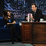 Jimmy Fallon showed the audience Salma Hayek's Allure cover.