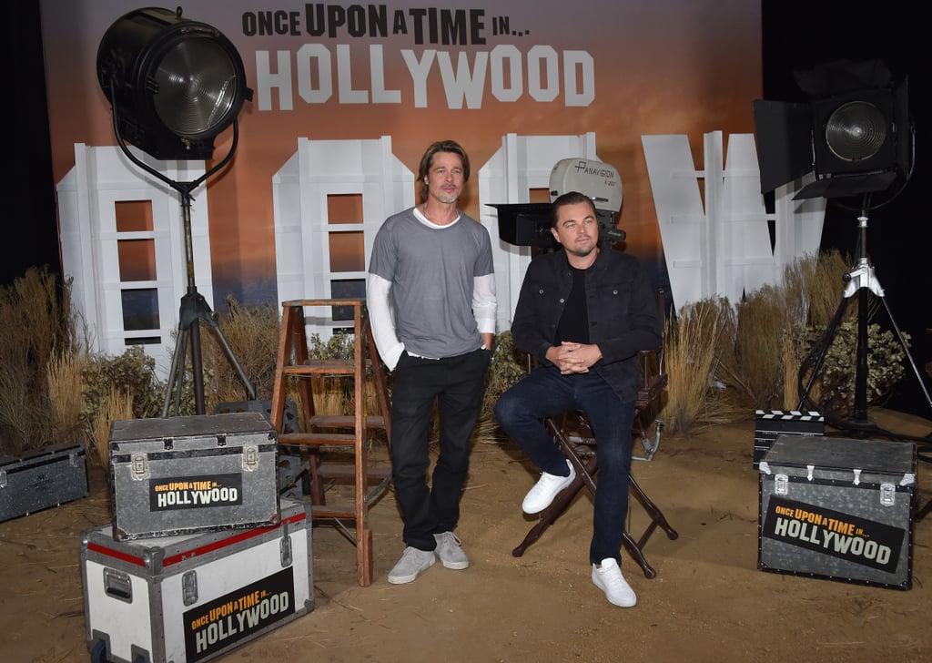 Brad Pitt Photobombing Margot Robbie and Leonardo DiCaprio