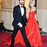 Jennifer Aniston was all smiles as she left the Oscars with Justin Theroux.