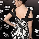 Lily Collins showed off the back of her dress.