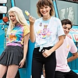 Lisa Frank x SpongeBob Girls Gumball Knotted Tee ($25), Lisa Frank x SpongeBob Guys Pink Pocket Tee ($23), and Lisa Frank x SpongeBob Girls Krabby Patty Tie-Dye Tee ($25)